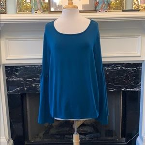 Ava & Vic peacock blue butterfly sleeve top
